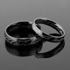 2pcs Black Lord of the rings stainl..