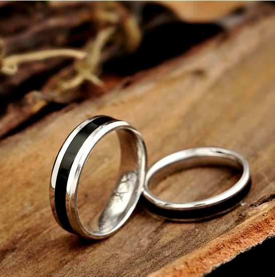 Black Stainless steel Wedding Rings - Wedding Bands - Couple Rings - Promise Rings