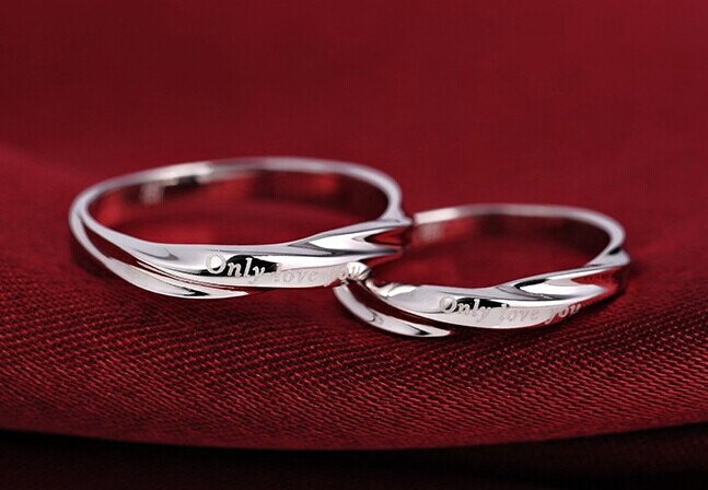 2pcs Free Engrave Platinum Rings, Wedding Couples Rings, His And ...