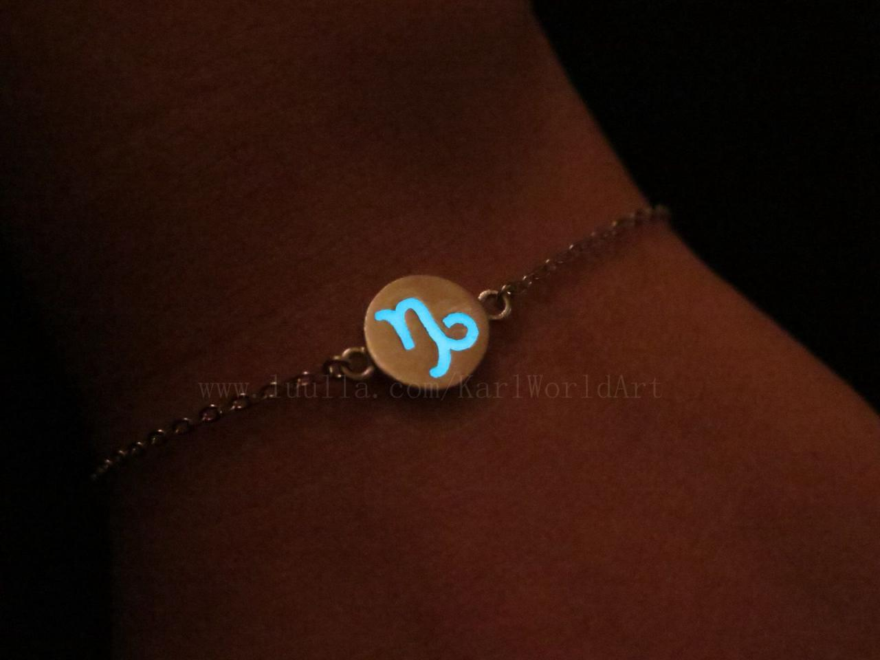 Free Shipping Capricorn Bracelets, Zodiac Sign Bracelets, Astrology Bracelets, Constellation Bracelets, Sterling Silver Bracelets, Glow in the dark