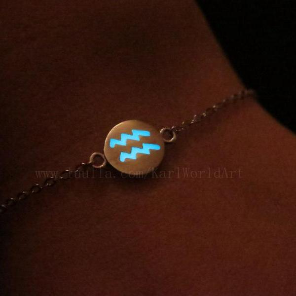 Free Shipping Aquarius Bracelets, Sterling Silver Bracelets, Astrology Bracelet, Constellation Bracelet, Glow in the dark